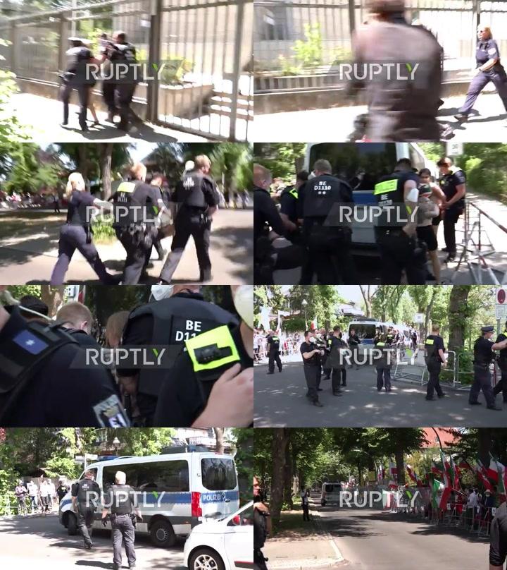 Germany: FEMEN activists demand presidential election boycott outside Iranian embassy in Berlin *EXPLICIT*