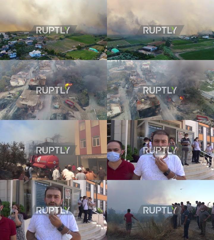 Turkey: Massive forest fires rage in Antalya province