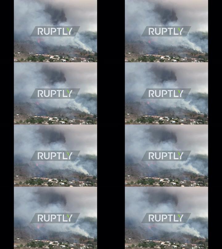 Spain: Smoke columns rise near homes as volcano erupts in La Palma
